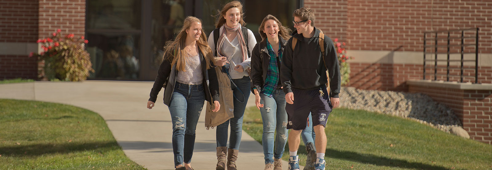 Group walking on campus