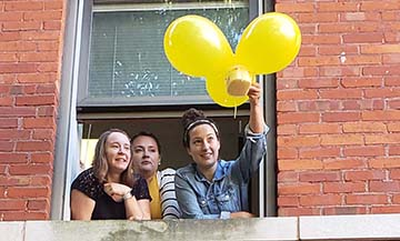 Trine University students from the Franks School of Education enrolled in the Math and Science Methods course participated in an Egg Drop Challenge on Tuesday, Oct. 9, from the windows of Shambaugh Hall.
