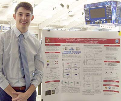 While those suffering with a cold or allergies only want mucus to go away, one Trine University biomedical engineering major spent 10 weeks trying to find effective methods for producing more of it.